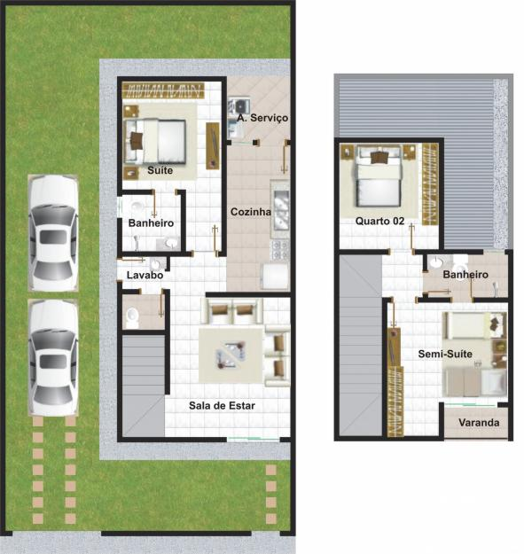 Plan d'une maison en duplex avec garage