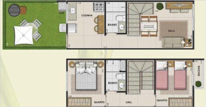 Plan avec deux chambres