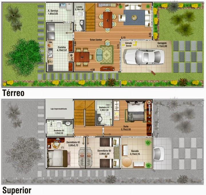 Plan d'une maison en duplex avec trois chambres