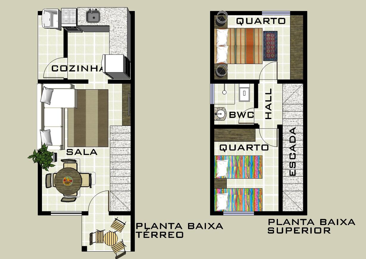 Plan de la maison avec deux chambres