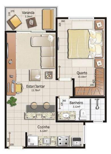 Petite maison avec une chambre à coucher