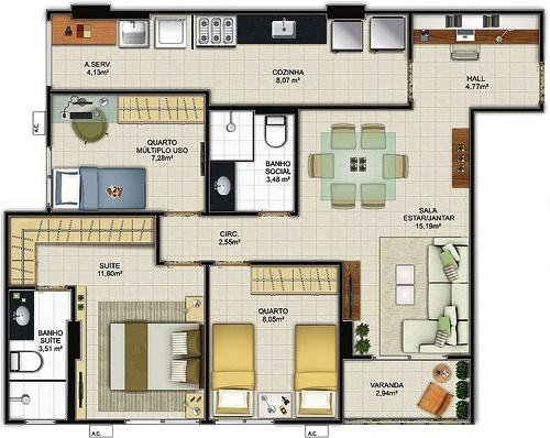 Plan d'une petite maison de trois chambres à coucher