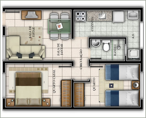 Maison avec deux chambres et petit