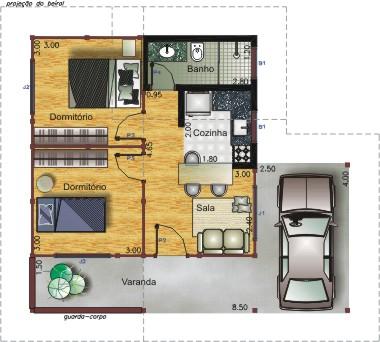 Plan de la maison avec quatre comodos