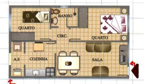 Plan d'une petite maison avec quatre comodes