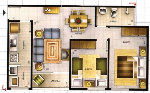 Maison avec plan de deux chambres