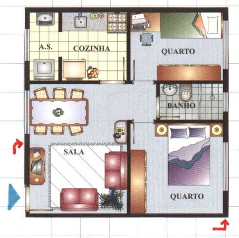 Plan d'une petite maison avec deux chambres