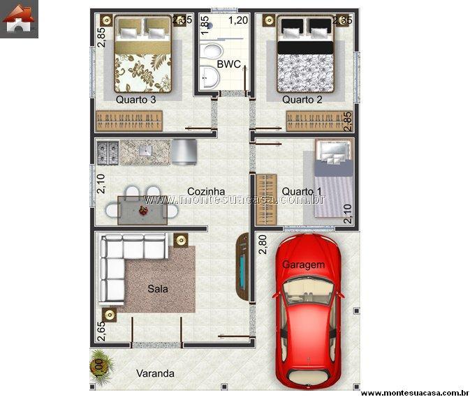 Plan de la maison avec 59,8m2