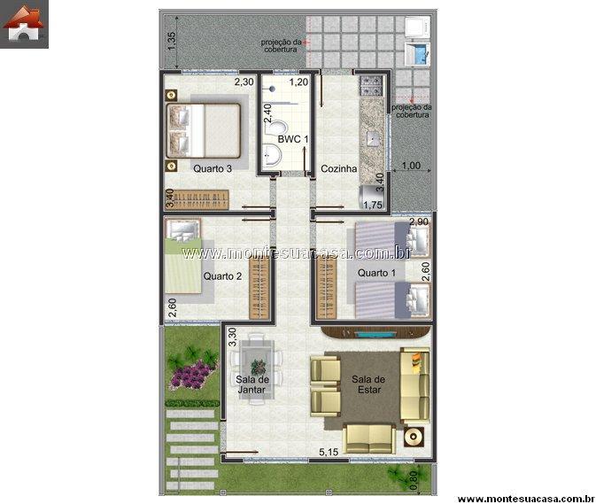 Plan de la maison avec 60,22m2
