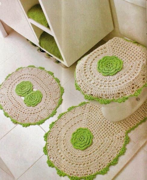 Ensemble classique de tapis de bain au crochet