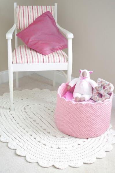 tapis à ficelle quatrième enfant rose