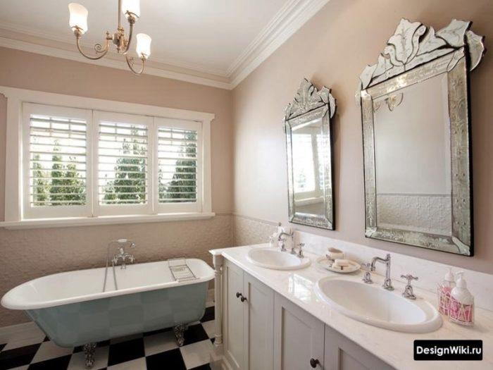 Salle de bain de style provençal marron pastel