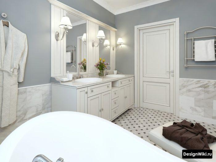 Salle de bain Provence avec carrelage effet marbre