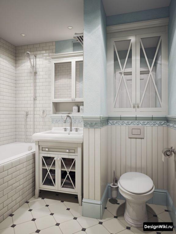 Portes avec miroirs au lieu de fenêtres pour le style provençal dans la salle de bain