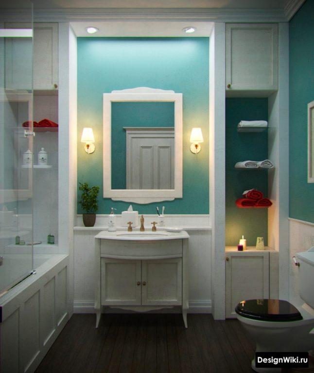 Conception de salle de bain dans des couleurs claires dans un style classique