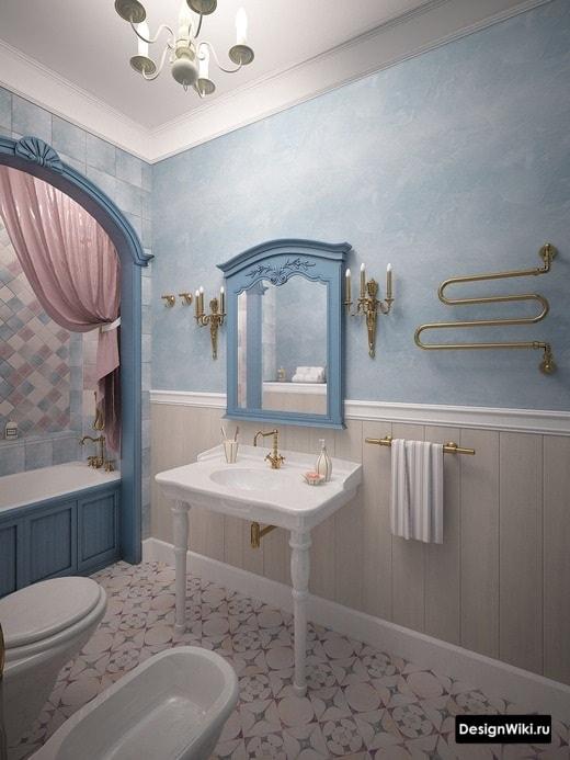 Évier avec pieds dans une salle de bain classique