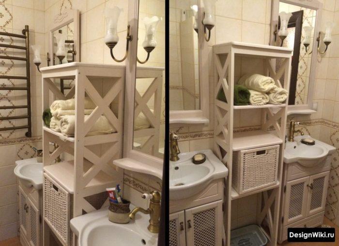 Paniers en osier pour ranger des objets dans une salle de bain classique