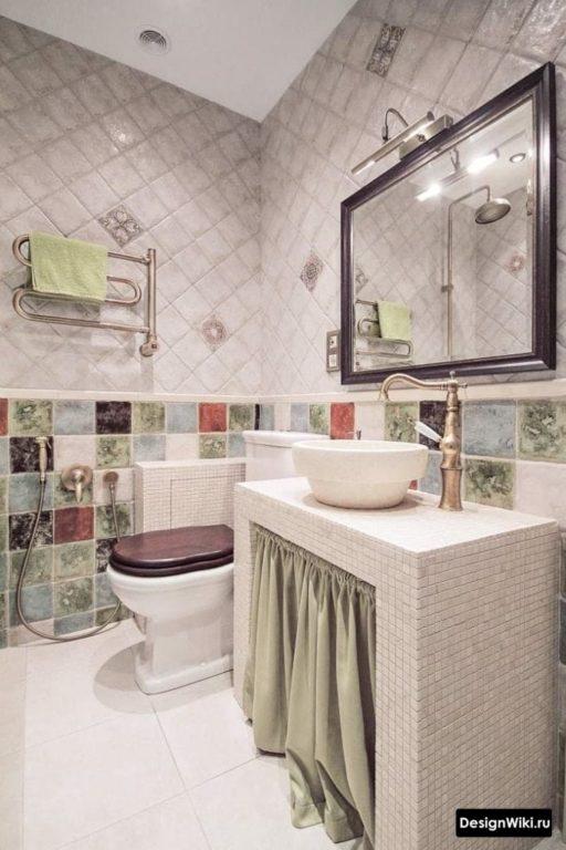 Machine à laver derrière le rideau de la salle de bain dans le style provençal #design #bathroom