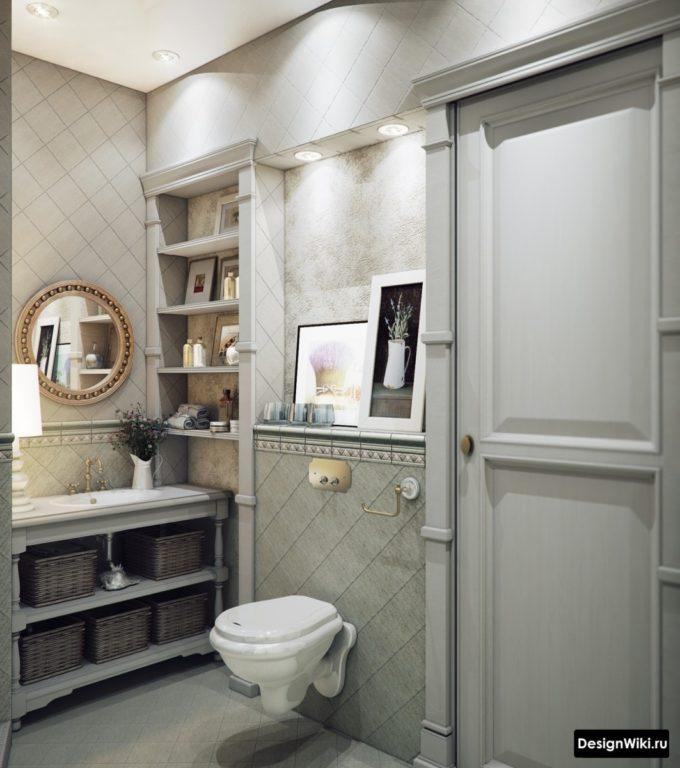 Toilettes suspendues dans un style classique