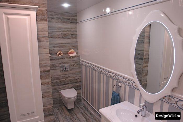 Toilettes suspendues dans la salle de bain de style provençal