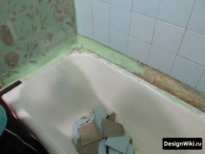 Murs courbes avec baignoire à Khrouchtchev