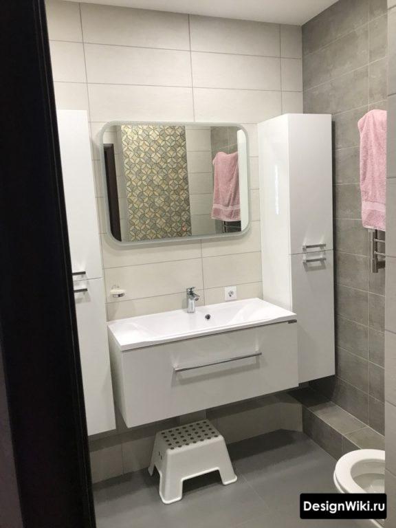 Carrelage blanc et gris satiné #intérieur #salle de bain