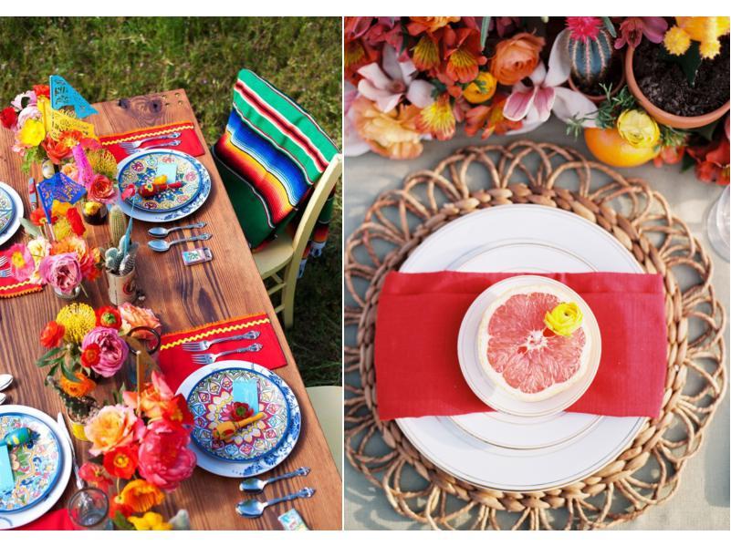 Réglage de la table de fête d'anniversaire mexicaine
