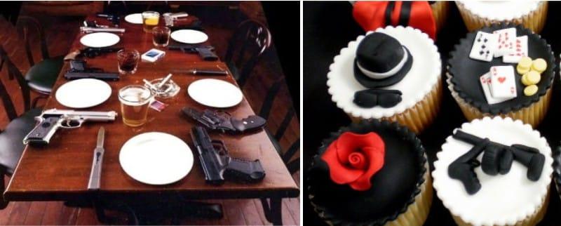 Réglage de la table dans le style de la mafia italienne