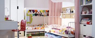 chambre-enfant-colocation-deux-lits-ikea-en-forme-de-l-avec-chambre-en-tissu-idee-chambre-enfant-ikea-ikea-meuble-enfant