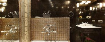Как оформить интерьер ванной в темных тонах?