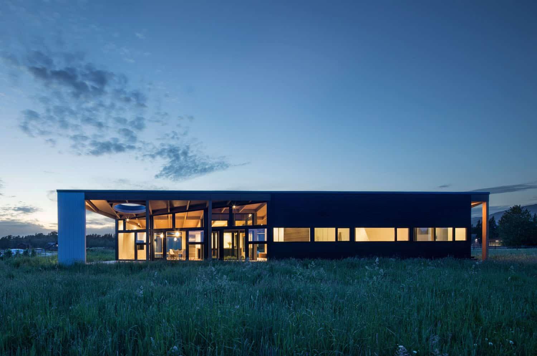 crépuscule-élévation-maison-moderne-extérieur