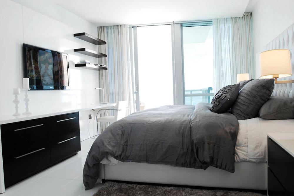 Miami-Luxury-Apartment-by-Guimar-Urbina-Interiors-Corp À quelle hauteur installer le téléviseur dans votre chambre?  (Répondu)