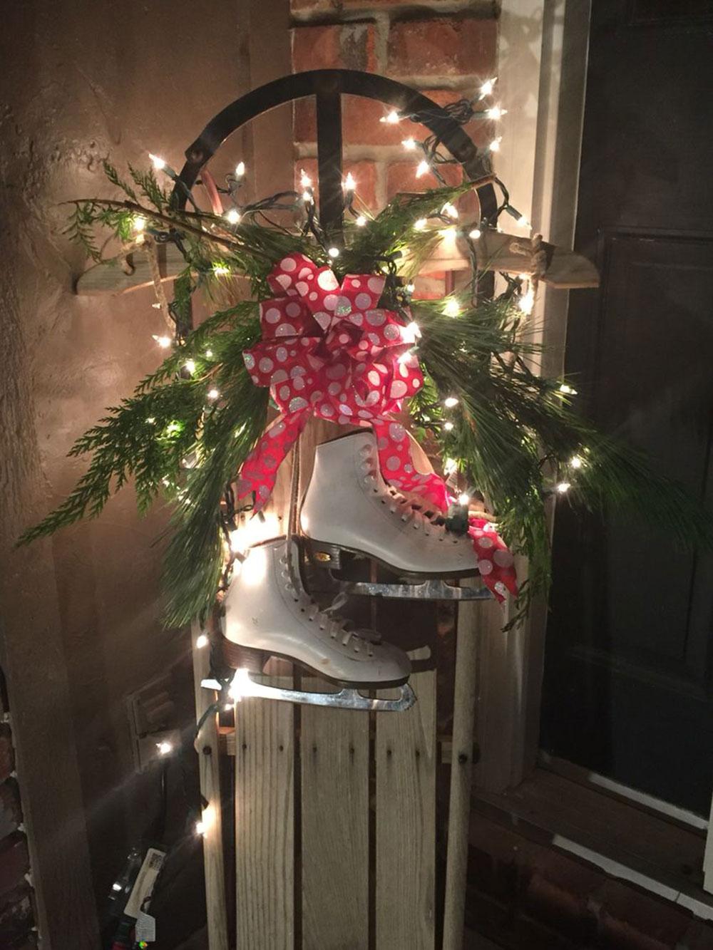 Idées de lumières de Noël d'extérieur vintage-sled à utiliser pour décorer votre maison
