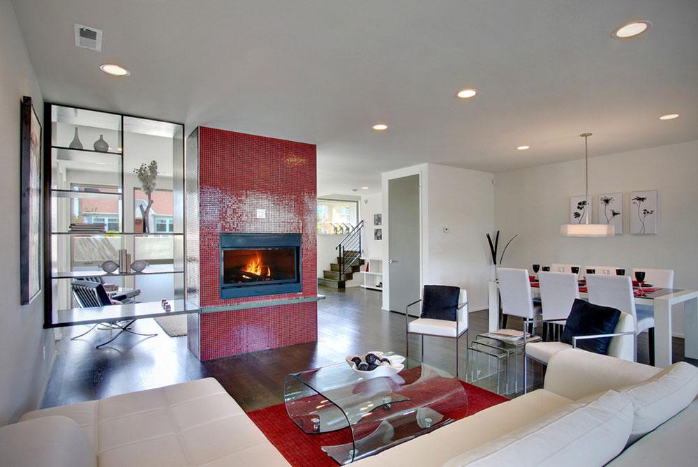 Modwalls-Brio-Mosaic-Glass-Clear-Red-Tile-Installation-by-Modwalls-Tile Comment refaçonner une cheminée pour un look incroyable