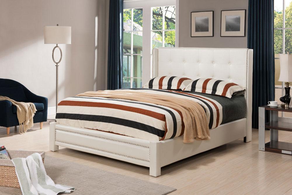 Ivoire-Faux-cuir-capitonné-rembourré-plate-forme-lattes-lit-bois-structure-par-pilastre-conceptions Les lits plate-forme sont-ils confortables?  Pourquoi devriez-vous en acheter un