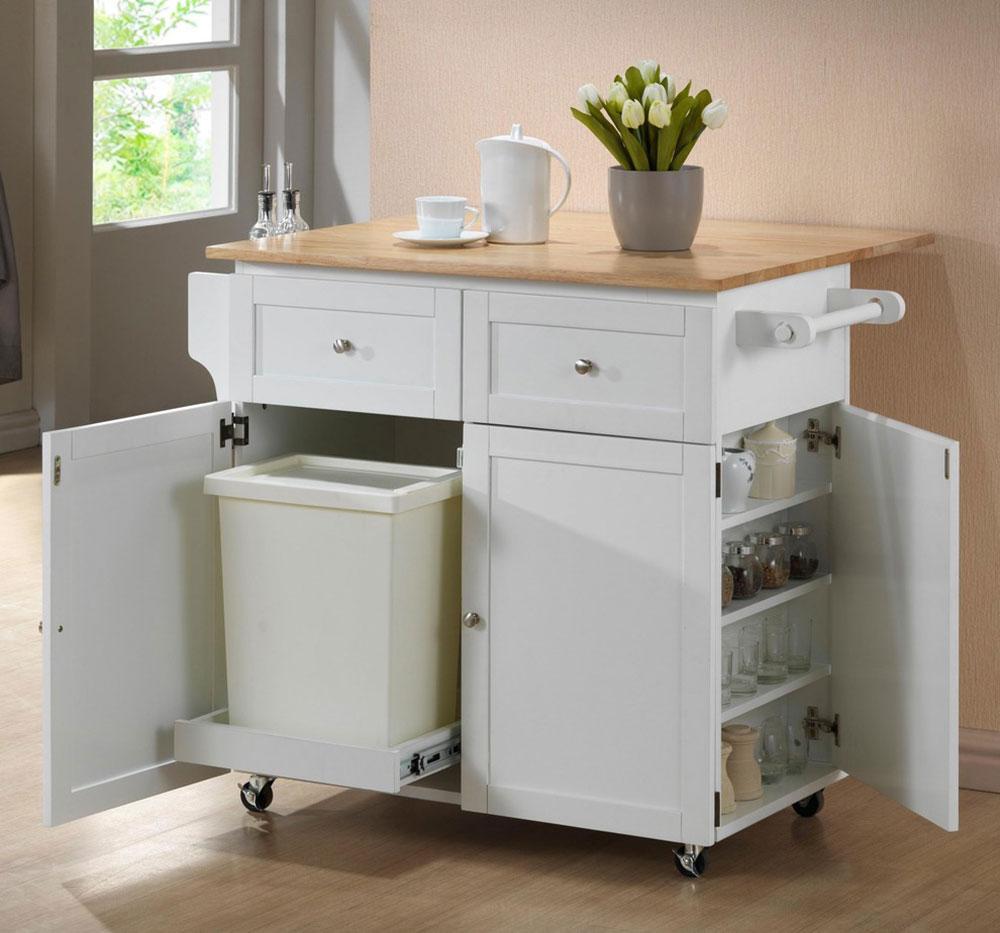 Chariot-de-cuisine-avec-compartiment-à-feuilles-et-poubelle-par-les-meubles-classiques Que faire avec de vieilles armoires de cuisine (idées d'armoires réutilisées)