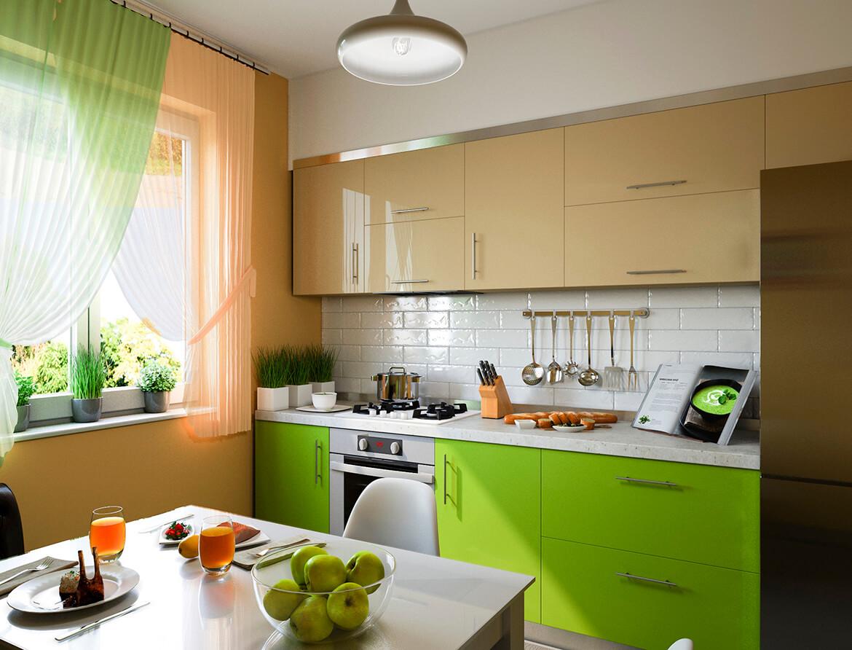3d-illustration-de-cuisine-avec-des-façades-beiges et vertes