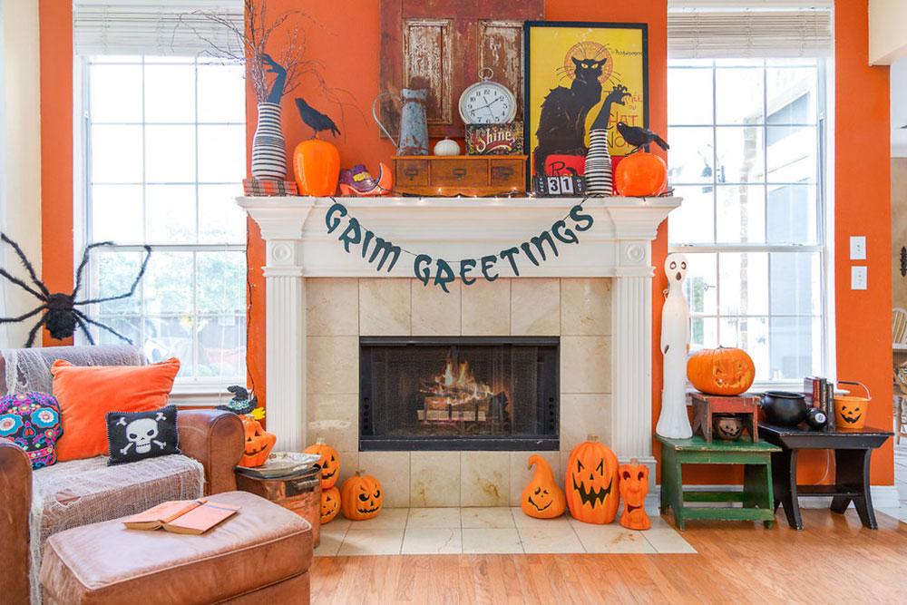 Vintage-Halloween-House-by-Home-Star-Staging Comment décorer un manteau de cheminée (idées de décoration soignées)