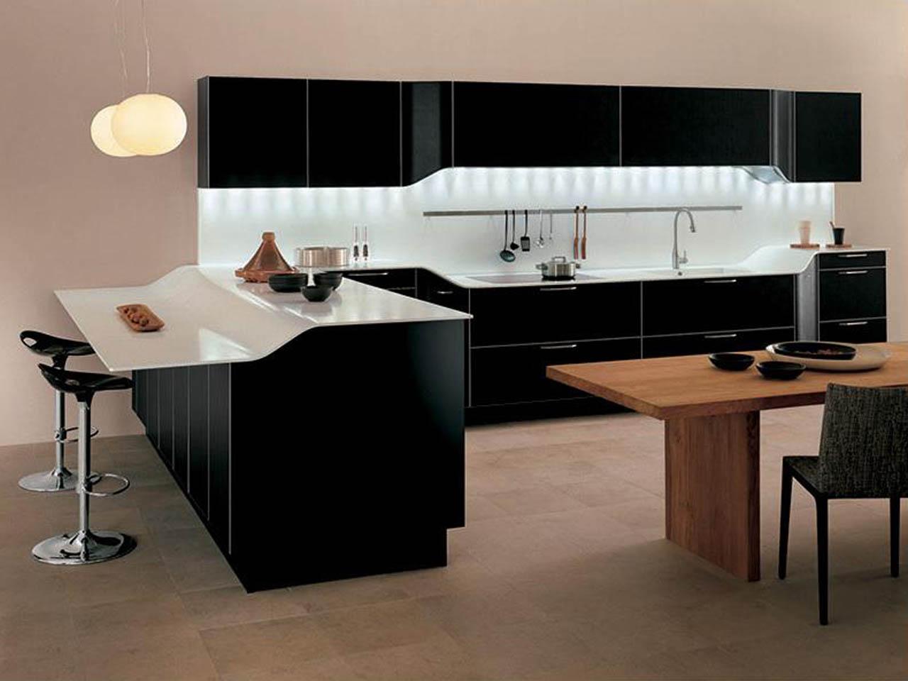 cuisine-ikea-ultramoderne-armoire-peinture-noire-style-contemporain-et-incroyable-comptoir-blanc-brillant-aussi-créatif-lumière cachée-décor-sous-rangement-mural-avec-cuisine-rta- armoires et qualité
