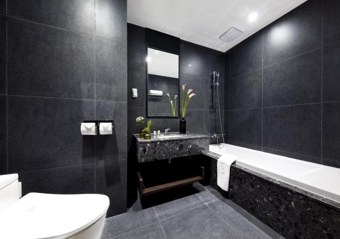 grands carreaux dans la salle de bain