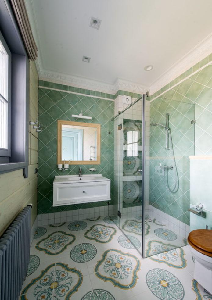 salle de douche aux couleurs turquoise