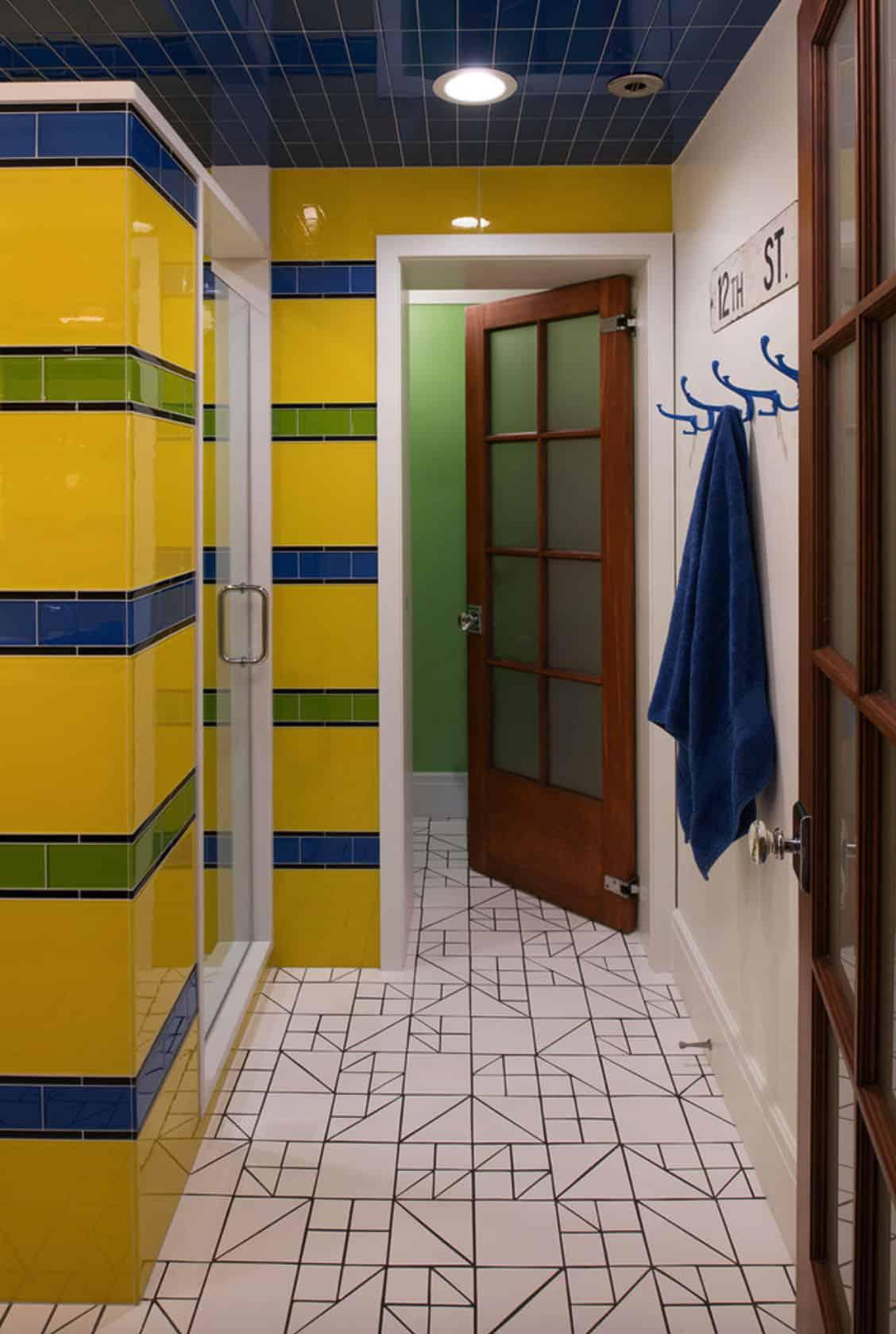 salle de bain éclectique