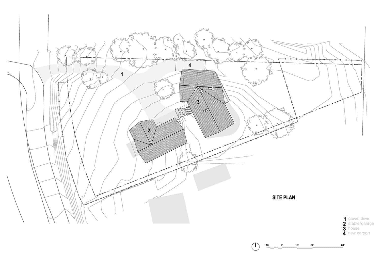 plan du site de la maison moderne du milieu du siècle