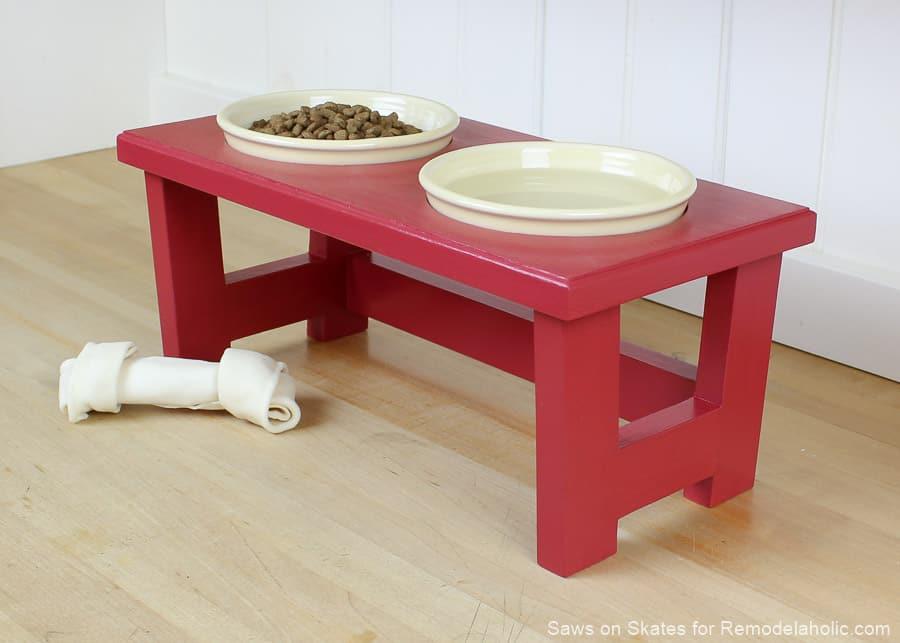 DIy support de bol de nourriture pour chien en rouge 15 supports de nourriture pour chien bricolage fabriqués à partir de zéro