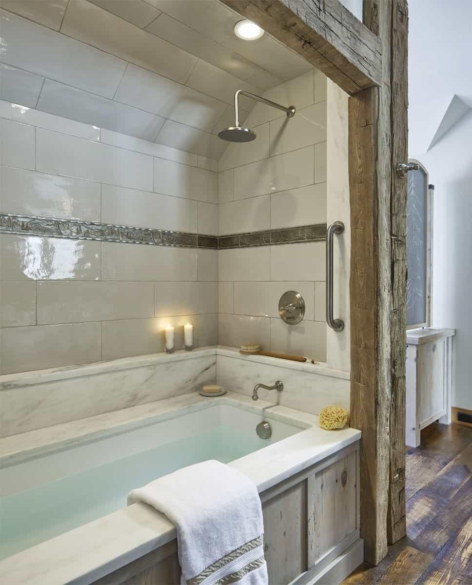 rustique-salle de bain-baignoire
