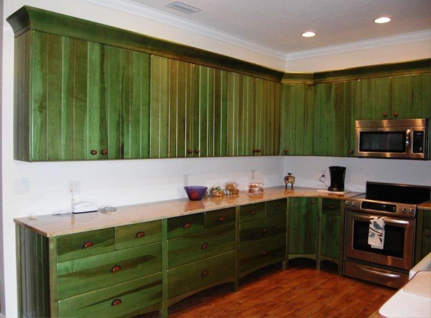 images d'armoires de cuisine vertes
