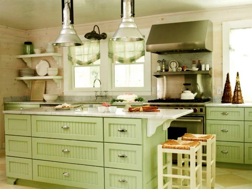 armoires-de-cuisine-vertes-image
