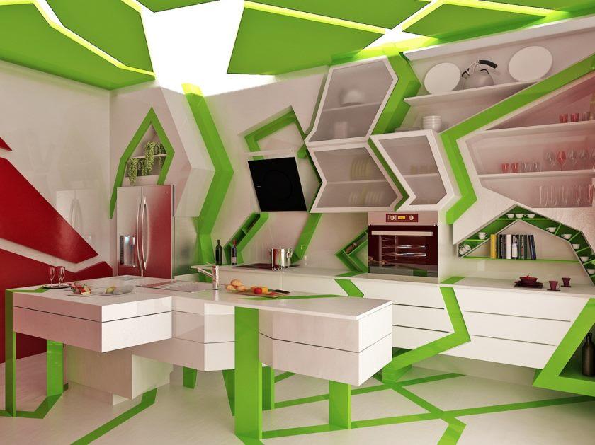 cuisine-contemporaine-unique-verte-blanche
