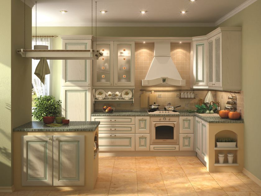 combinaison de couleurs blanc-vert-cuisine