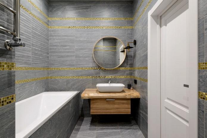 décoration de salle de bain dans les tons gris